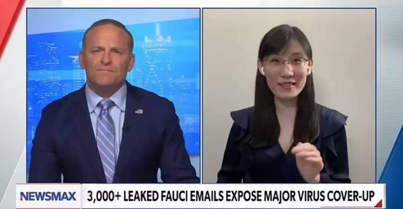 流亡美國的中國病毒學家閻麗夢表示,佛奇的電郵證明了她的說法,即新冠病毒是1種生化武器。(圖取自NEWSMAX)