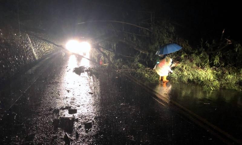 南投縣警察局信義分局員警漏夜在新中橫公路處理路樹倒塌影響交通情況。(圖由信義分局提供)
