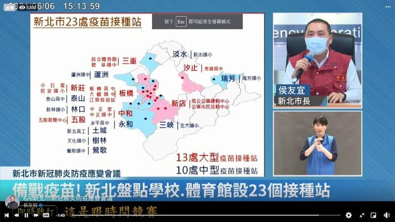 新北市共設有23處疫苗接種站,待中央疫苗配發後,即可展開施打。(記者賴筱桐翻攝)