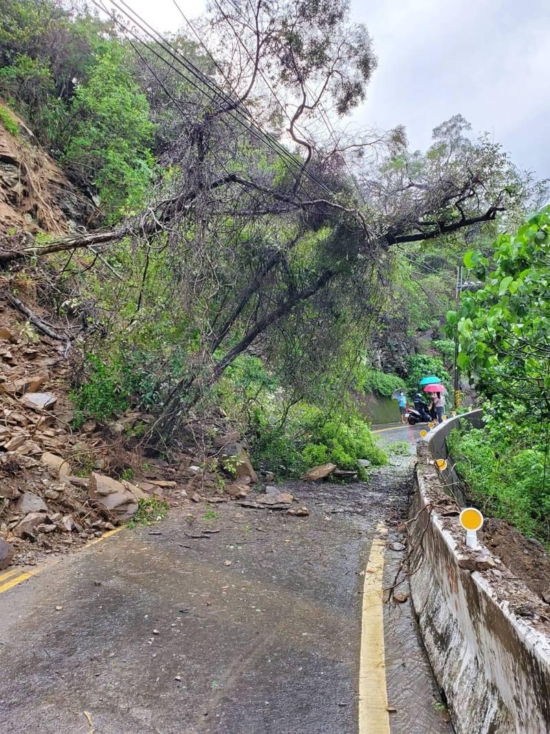 高雄茂林山區主要聯絡道路高132線10K處,今天上午因邊坡崩塌樹木壓到電線,導致多納里全里130戶停電。(高市原民會提供)