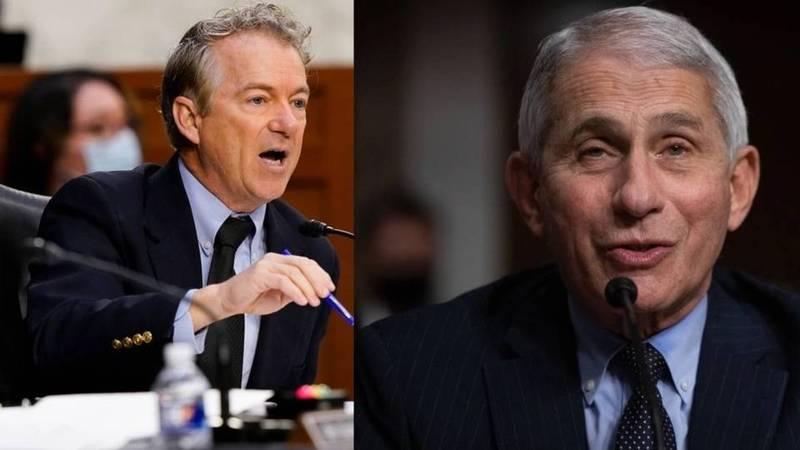 美國共和黨籍聯邦參議員保羅(左),5月18日在參院聽證會上槓上佛奇(右),雙方就接種疫苗後是否需戴口罩等問題,爆發爭執。(美聯社)