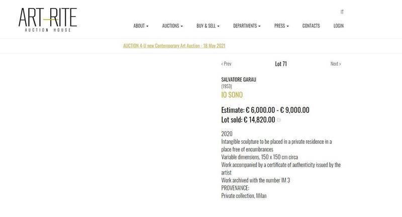 義大利拍賣行「Art-Rite」的網站介紹中,該作品的照片欄是一片空白。(擷取自「Art-Rite」)