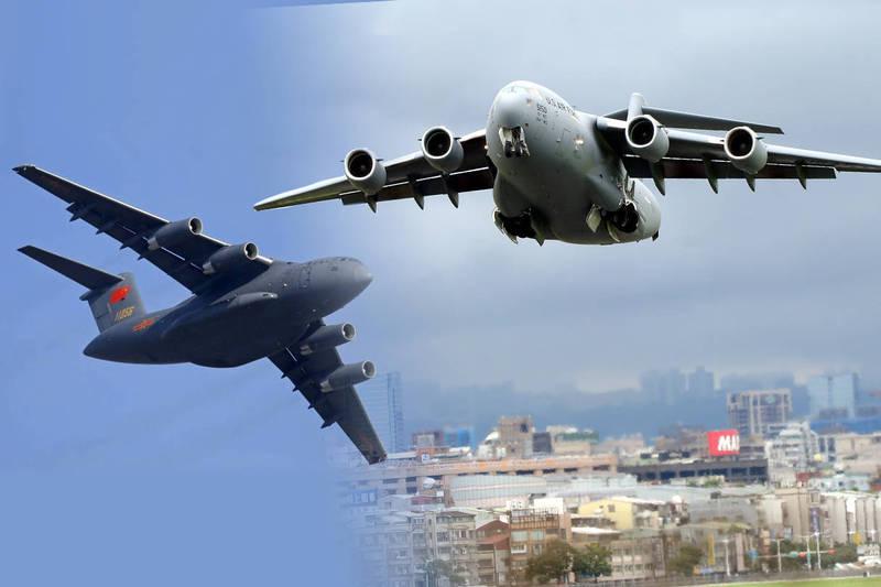 《環球時報》指出,解放軍運-20雖有進步,但與美軍C-17仍有20年差距。(本報合成)