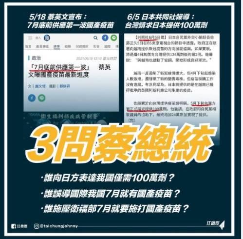 國民黨主席江啟臣今日三問蔡英文總統,並質疑「還藏了多少不能說的秘密?」(截圖自江啟臣臉書)