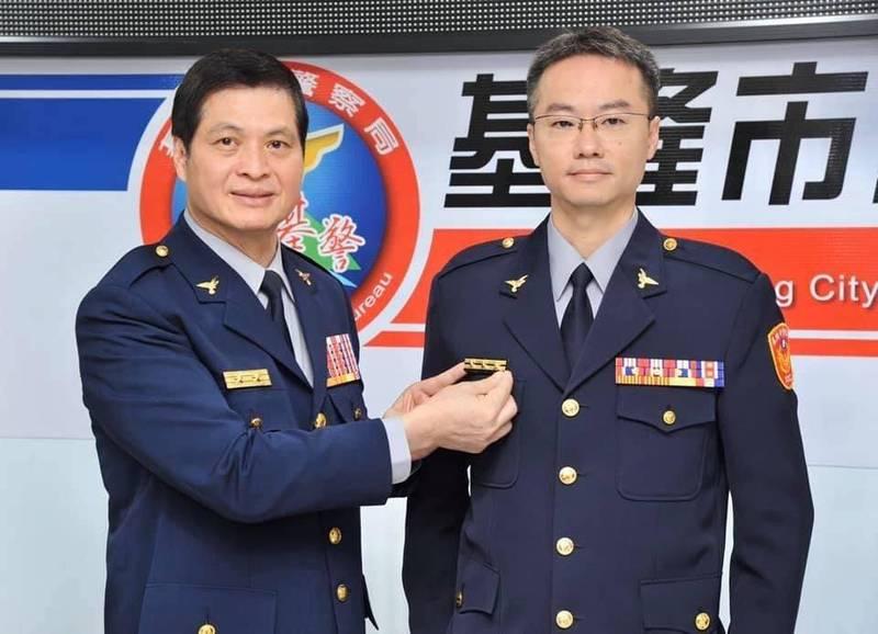 新任一分局副分局長的吳合謦(右1)則曾擔任繁重的第二分局偵查隊隊長多年,穩定地方治安。(記者吳昇儒攝翻)