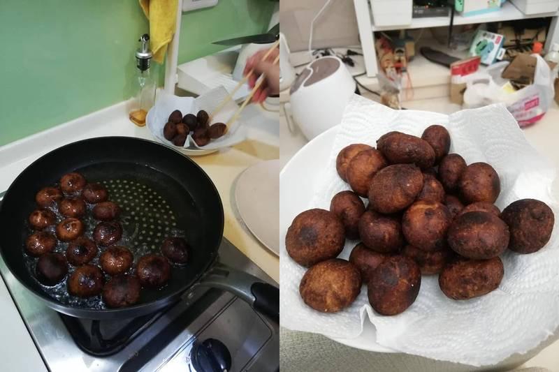 網友的地瓜球讓人大吃一驚,許多網友都說根本就是「炸香菇」。(圖取自臉書社團「爆廢公社」)