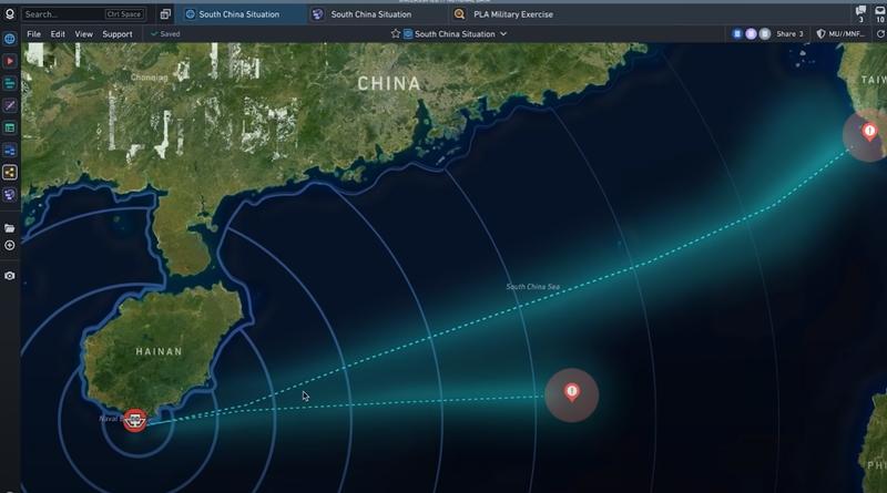 美國大數據公司Palantir今展示軍事決策軟體高譚(Gotham),如何協助美軍做出決策來化解1場共軍軍艦侵擾高雄港的危機。(圖擷取自《YouTube》)