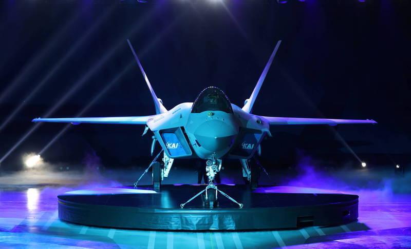 南韓空軍國產超音速戰機「獵鷹」KF-21。(路透)