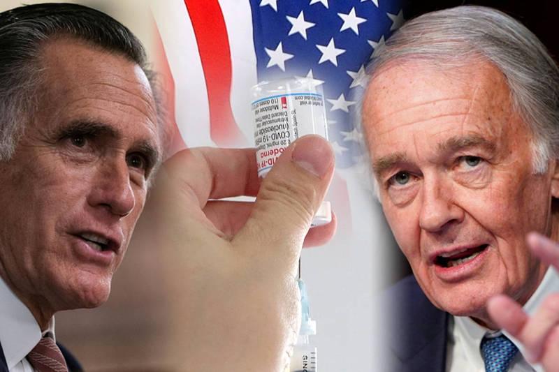 美國共和黨首席聯邦參議員羅姆尼(Mitt Romney,圖右)與民主黨參議員馬基(Edward J. Markey,圖左)9日發表共同聲明。(本報合成)