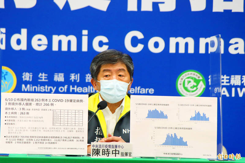 Minister of Health and Welfare Chen Shih-chung speaks at the Central Epidemic Command Center's daily news conference in Taipei yesterday. Photo: Yang Yuan-ting, Taipei Times
