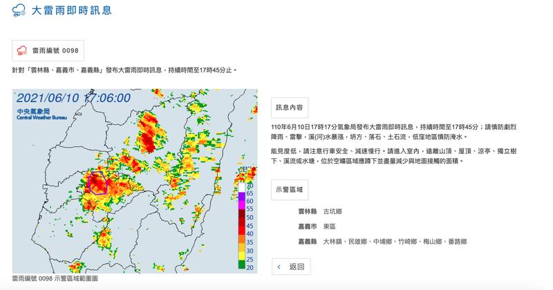 中央氣象局今(10)日下午5點17分針對雲林縣、嘉義市及嘉義縣發布大雷雨即時訊息(雷雨編號 0098)。(圖取自氣象局網站)