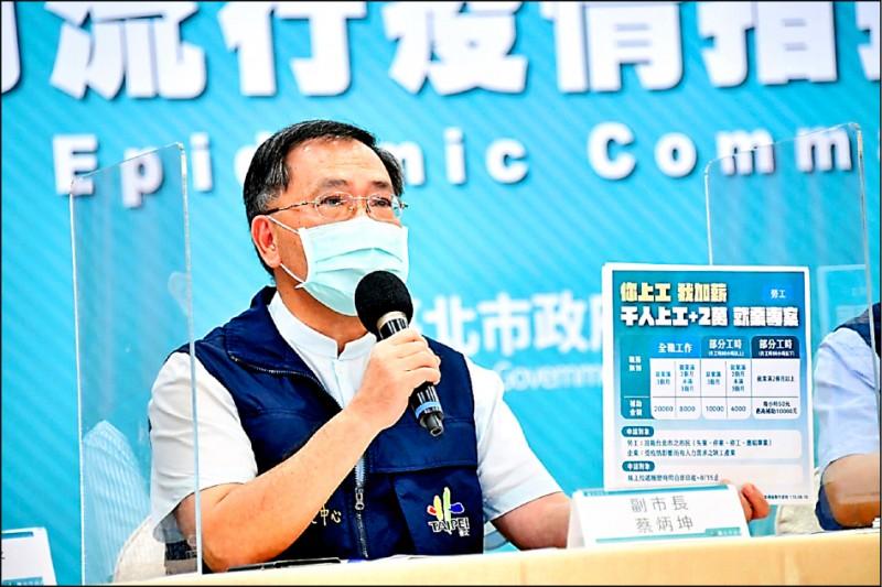副市長蔡炳坤解釋,勞工只要上工滿三個月,由市府一次性「加薪」二萬元。 (北市府提供)