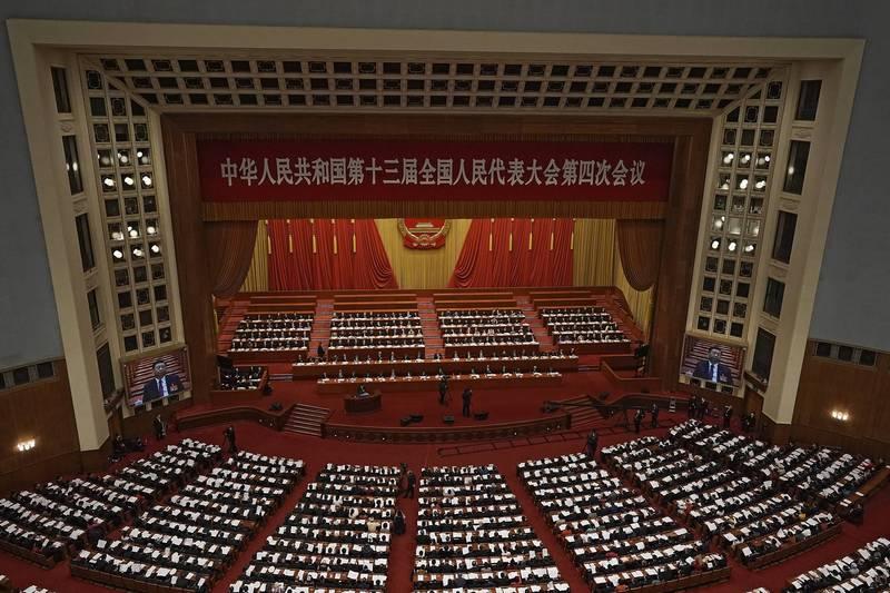 中國全國人民代表大會10日表決通過「反外國制裁法」。圖為今年3月第13屆全國人大第4次會議在北京開幕。(美聯社)