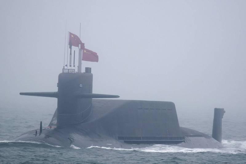 中國海軍的「晉級」核動力彈道飛彈潛艦「長征10號」。(美聯社檔案照)