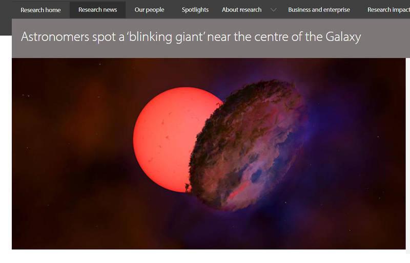劍橋大學研究團隊發現銀河系中一顆巨大的閃爍恆星。(圖為示意圖,擷取自劍橋大學網站)