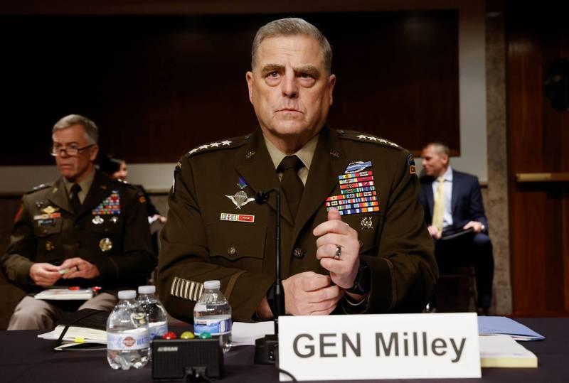 美軍參謀首長聯席會議主席麥利(Mark Milley)10日出席聯邦參議院軍事委員會的國防部預算聽證會。(路透)