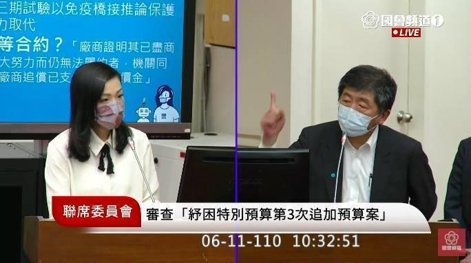 民眾黨立委高虹安(圖左)質疑國產疫苗買貴,被中央流行疫情指揮中心指揮官陳時中(圖右)反嗆,別忘了之前說「再貴都要買」。(圖擷取自國會頻道)