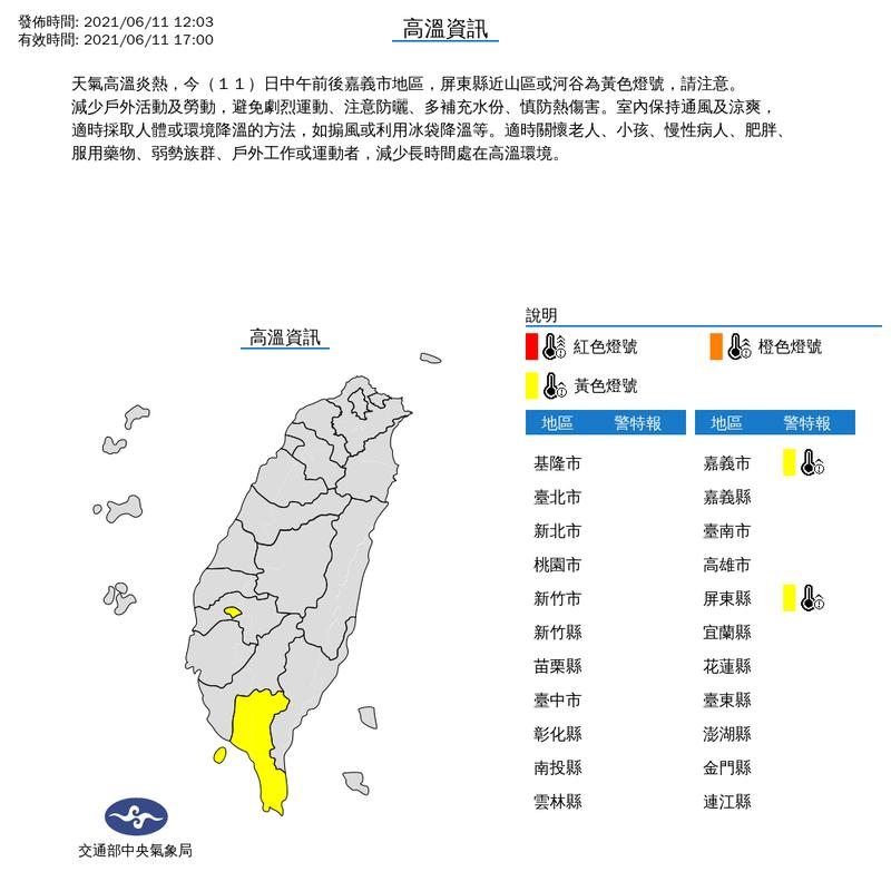 氣象局中午12時03分對嘉義市與屏東縣等2縣市發布高溫特報。(擷取自中央氣象局)