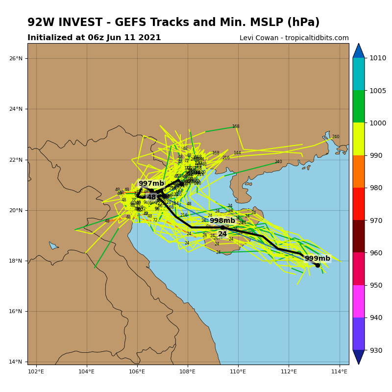 美國系集模式最新路徑預測圖顯示,未來72小時之內,它的中心氣壓可能下降至998百帕。(圖取自tropicaltidbits)