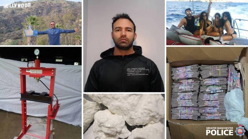 國際級大毒梟Aram Sheibani過著奢華人生,但下半輩子要在牢裡度過。(圖翻攝自曼徹斯特警方「Greater Manchester Police」臉書)