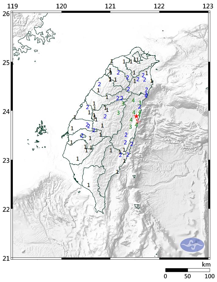 花蓮今繼下午1點多連兩起5.4、4.3地震後,在下午3點33分再度發生規模5.3地震,全台有感。(圖擷自中央氣象局)