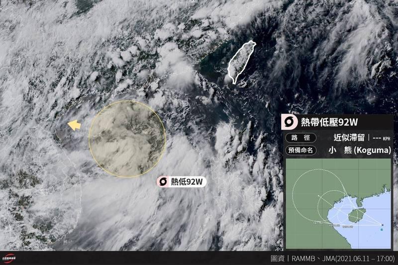 臉書粉專「台灣颱風論壇|天氣特急」製圖指出,「小熊」颱風即將形成。(圖取自臉書粉專「台灣颱風論壇|天氣特急」)