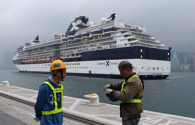 皇家加勒比國際郵輪,疫情爆發後首次出航竟傳出有2名乘客確診。「菁英千禧號」示意圖,非本次航行。(法新社)