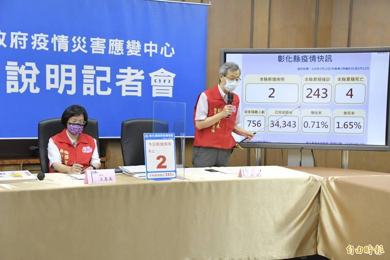 彰化縣新增2例確診,縣長王惠美(左)、衛生局長葉彥伯(右)提醒大家這是難纏的病毒,仍需高度警戒。(記者劉曉欣攝)