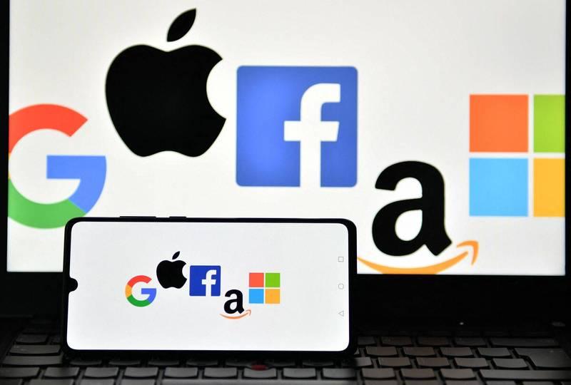 蘋果、臉書、Google、微軟、亞馬遜5大科技公司的標誌。(法新社檔案照)