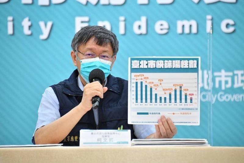 柯文哲表示,應訴諸人民自動自發,台北市在防疫很成功的地方,便是不用強制管制。(北市府提供)