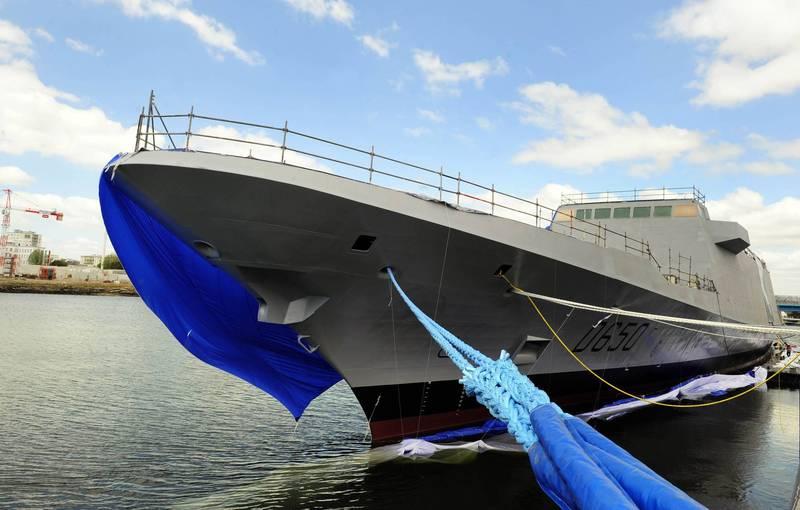 歐洲最大造船集團、義大利芬坎特里造船公司(Fincantieri)宣布,獲得印尼國防部的訂單,未來將提供6艘歐洲多任務巡防艦。圖為法國海軍歐洲多任務巡防艦。(法新社)
