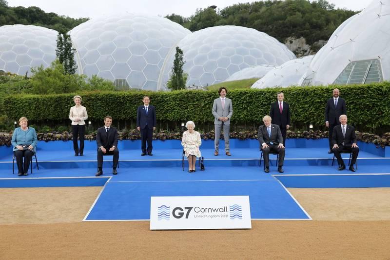 英國女王伊莉莎白二世接待G7領袖。(路透)