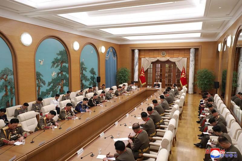 北韓領導人金正恩召開中央軍事委員會會議。(法新社)