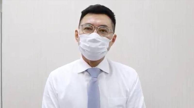 國民黨主席江啟臣透過影片談疫苗議題,表態願當國產疫苗三期試驗者。(國民黨提供)