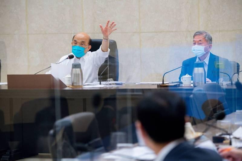 行政院今天上午召開擴大防疫會議。(政院提供)