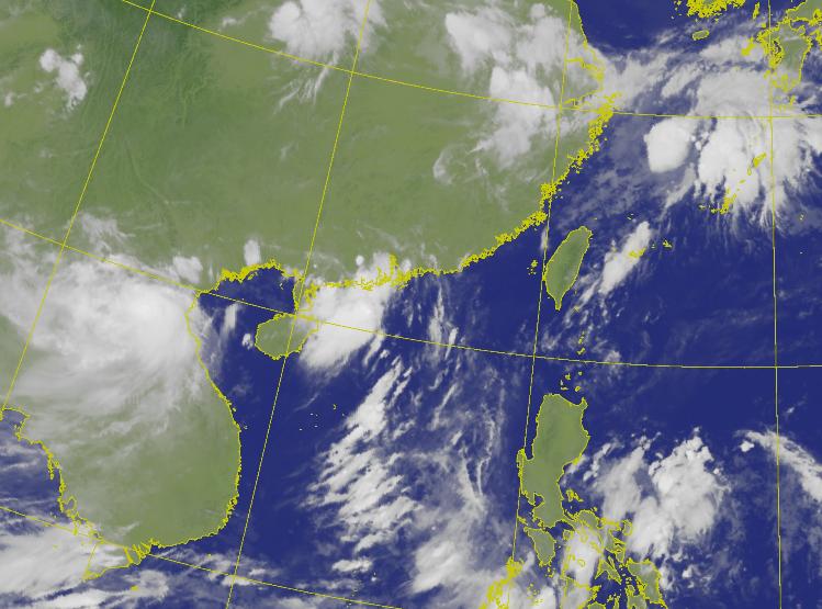 第4號颱風「小熊」已登陸越南,對台天氣無影響,預估未來一週都將是西南風環境,苗栗以南地區本週整天都有降雨機會。(圖擷自中央氣象局)