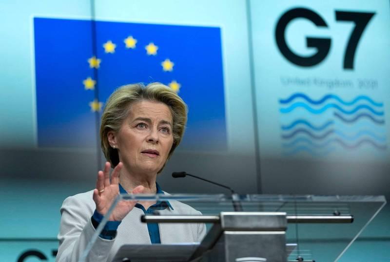 歐盟執委會主席馮德萊恩週六表示,目前歐盟已對COVAX捐獻3億5000萬劑疫苗,占歐盟生產疫苗的一半,歐盟也計畫在年底前出口7億劑疫苗。(法新社)