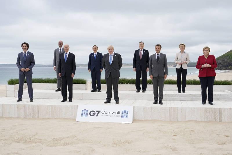 G7峰會將簽《卡比斯灣宣言》,防止傳染病再爆全球大流行。圖為G7各國領袖。(美聯社)