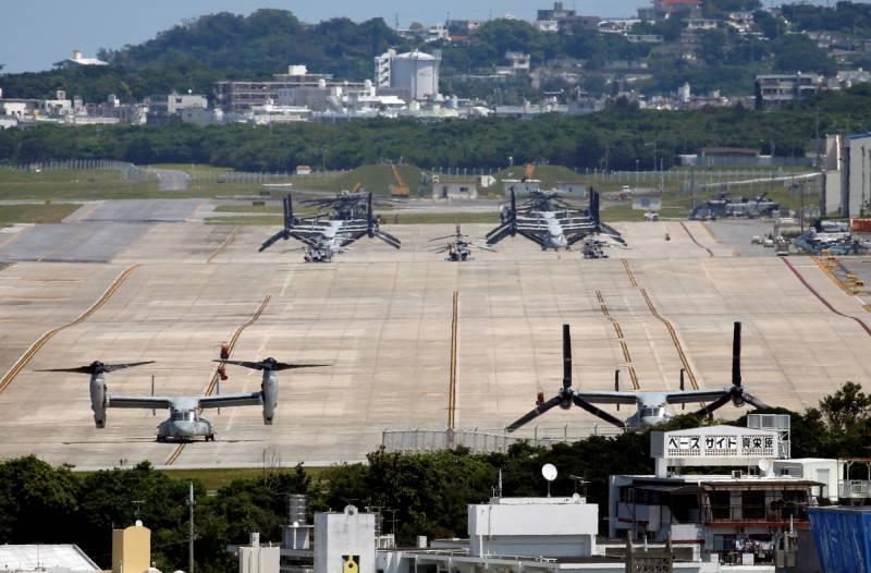 圖為美軍陸戰隊駐日本沖繩的普天間基地,示意圖。(資料照,路透)