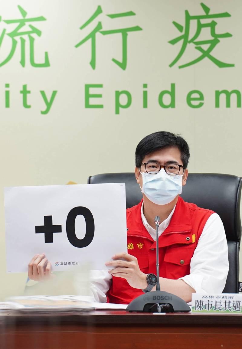 高雄市本土病例確診數,連續2天「+0」。(記者葛祐豪翻攝)