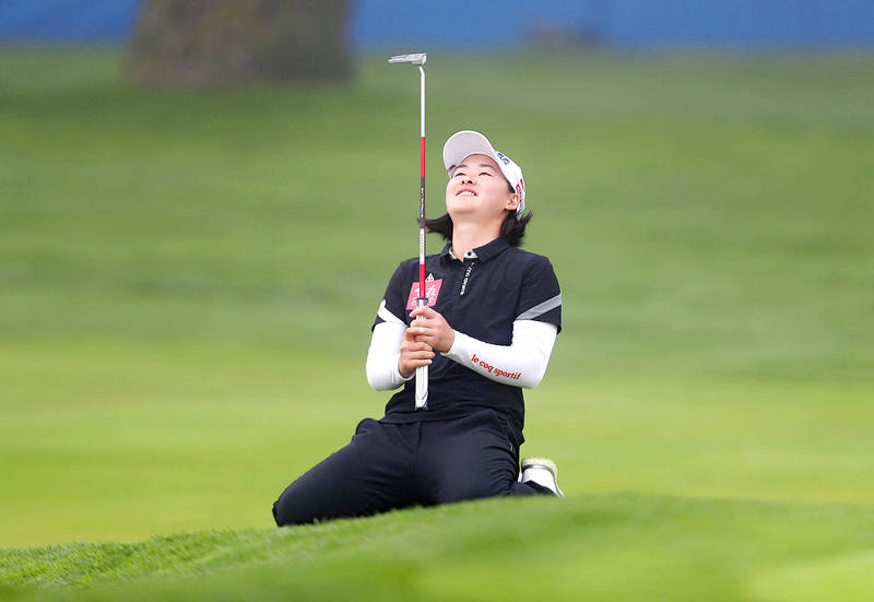 Taiwan's Min Lee reacts after missing a putt on the 18th hole during the final round of the LPGA Mediheal Championship in Daly City, California, on Sunday. Photo: AFP