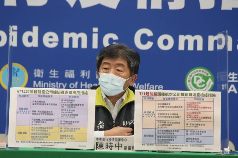 中央流行疫情指揮中心指揮官陳時中說明國內最新疫情。(指揮中心提供)