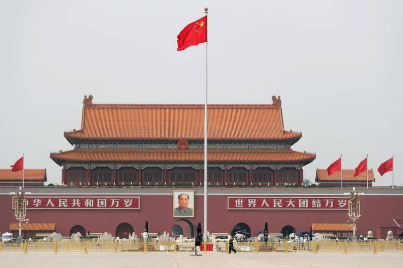 中共近日在北京天安門舉行百年黨慶預演。(路透資料照)