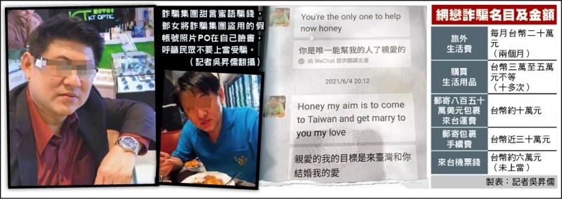 詐騙集團甜言蜜語騙錢,鄧女將詐騙集團盜用的假帳號照片PO在自己臉書,呼籲民眾不要上當受騙。(記者吳昇儒翻攝)