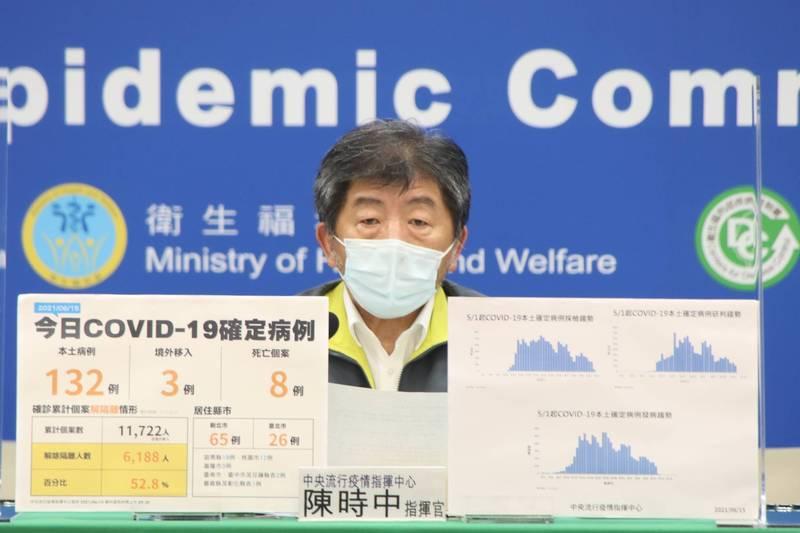 陳時中表示,目前台灣對於返國的民眾,居家檢疫天數並不會因為有接種疫苗就放寬。(圖:指揮中心提供)
