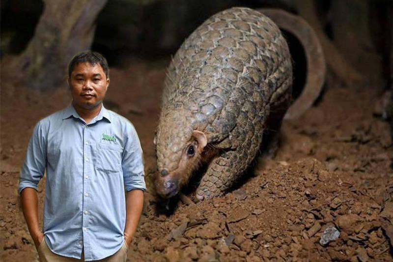 阮文蔡因為致力拯救穿山甲,今日獲頒有著「綠色諾貝爾獎」之稱的「高曼環境獎」。(本報合成)