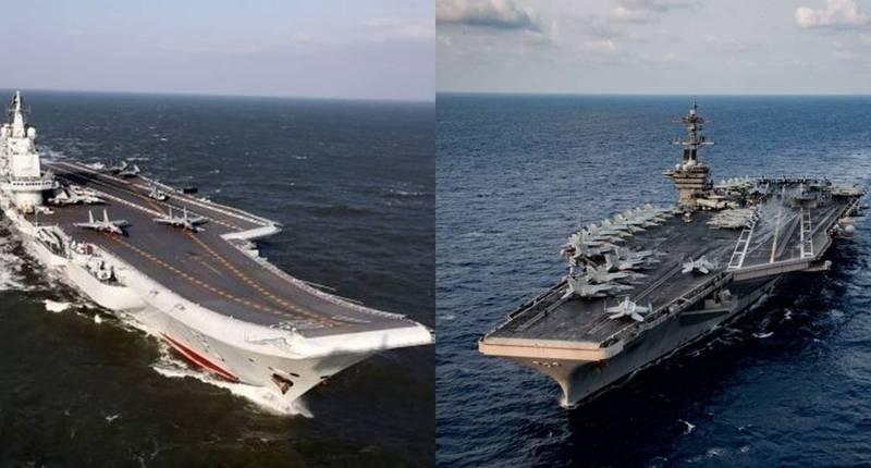 美國軍事記者艾克塞曝美國、中國4月、5月各自對南海派出羅斯福號航艦、遼寧號航艦,且航線還有所「強碰」,他表示,「這在戰時肯定開打」。(法新社,本報合成)