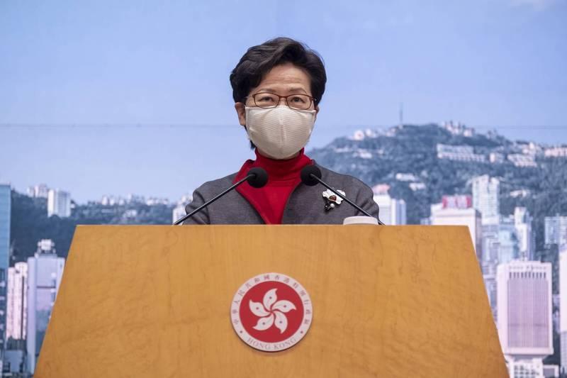 香港特首林鄭月娥表示,《電影檢查條例》並不會扼殺創作自由。(彭博)