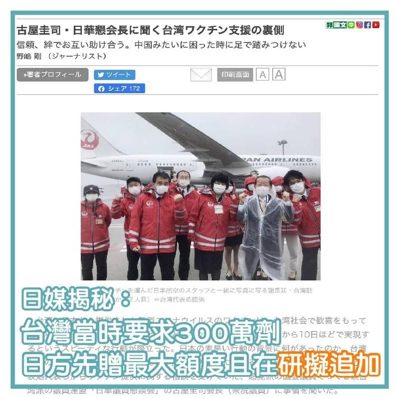 民進黨立委郭國文引述日媒報導,強調台灣最一開始要求的疫苗數量為300萬劑(取自郭國文臉書)