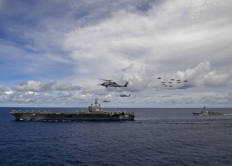 雷根號航艦打擊群於6月14日進入南海進行演習。(歐新社)